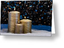 Three Gold Candles In Snow  Greeting Card