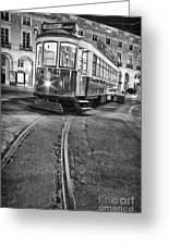 Typical Lisbon Tram In Commerce Square Greeting Card