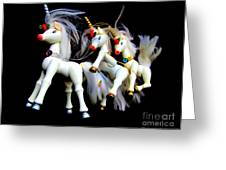 3 Unicorns Romping Greeting Card