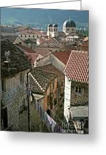 View Of Kotor Town In Montenegro Greeting Card