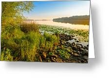 View Of The Dniper River At Morning Greeting Card