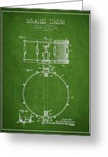Snare Drum Patent Drawing From 1939 - Green Greeting Card