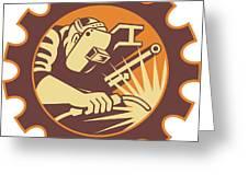 Welder Worker Welding Torch Retro Greeting Card