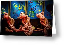 3 Wet Pink Panthers Greeting Card