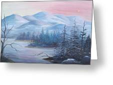 Winter In The Mountains Greeting Card by Glenda Barrett