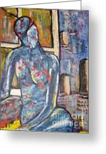 Woman Blue Greeting Card by Chaline Ouellet