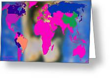 World Map And Aphrodite Greeting Card