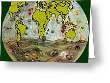 World Map And Earth Greeting Card