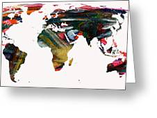 World Map And Human Life Greeting Card