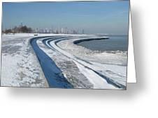 31st Beach Shoreline In Winter Greeting Card