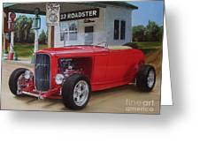 32 Ford At Filling Station Greeting Card