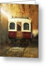 321 Antique Passenger Train Car Textured Greeting Card