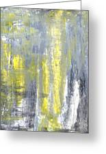Placed - Grey And Yellow Abstract Art Painting Greeting Card