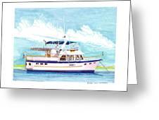 37 Foot Marine Trader 37 Trawler Yacht At Anchor Greeting Card by Jack Pumphrey