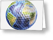 3d Rendering Of A Planet Earth Golf Greeting Card