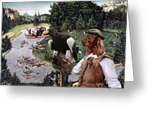 Irish Setter Art Canvas Print Greeting Card