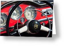 1961 Alfa Romeo Giulietta Spider Steering Wheel Emblem -1239c Greeting Card