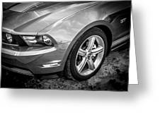 2010 Ford Mustang Convertible Bw Greeting Card