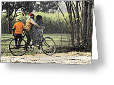 3 Young Children On A Cycle At The Side Of The Road Greeting Card
