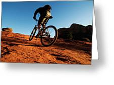 A Middle Age Man Rides His Mountain Greeting Card
