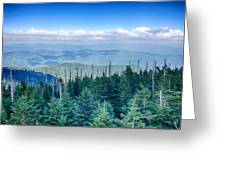 A Wide View Of The Great Smoky Mountains From The Top Of Clingma Greeting Card