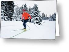 A Young Woman Cross-country Skiing Greeting Card
