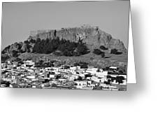 Acropolis And Village Of Lindos Greeting Card