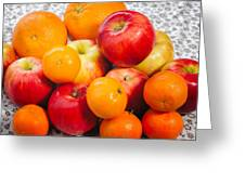 Apple Tangerine And Oranges Greeting Card