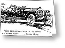 Automobile Cartoon, 1914 Greeting Card