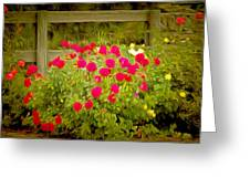Fence Line Flowers Greeting Card