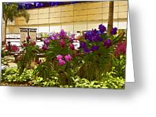 Beautiful Flowers Inside The Changi Airport In Singapore Greeting Card