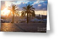 Boats In The Harbor Of Barcelona Greeting Card