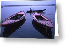 Boats On The Ganges River Greeting Card