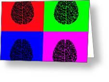 4 Brain Pop Art Panel Greeting Card