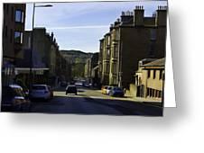 Car In A Queue Waiting For A Signal In Edinburgh Greeting Card