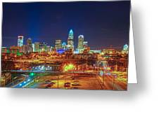 Charlotte City Skyline Night Scene Greeting Card