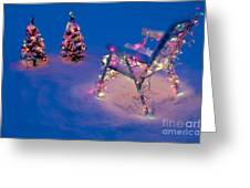 Christmas Lights On Trees And Lawn Chair Greeting Card