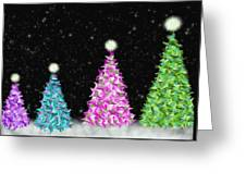 4 Christmas Trees Greeting Card
