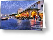 City Of Rhodes During Dusk Time Greeting Card
