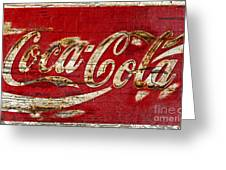 Coca Cola Sign Cracked Paint Greeting Card