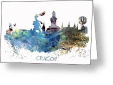 Cracow City Skyline Greeting Card