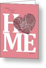 Dallas Street Map Home Heart - Dallas Texas Road Map In A Heart Greeting Card