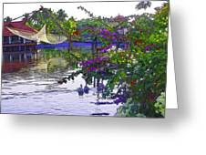 Ducks And Flowers In Lagoon Water Greeting Card