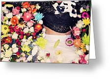 Fashion Model Posing With Flowers Greeting Card