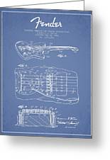 Fender Floating Tremolo Patent Drawing From 1961 - Light Blue Greeting Card