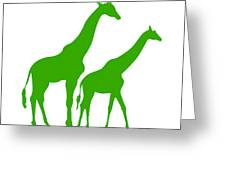 Giraffe In Green And White Greeting Card