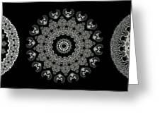 Kaleidoscope Ernst Haeckl Sea Life Series Black And White Set 2  Greeting Card