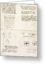 Leonardo Da Vinci's Notes Greeting Card