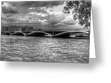 London Thames Bridges Bw Greeting Card
