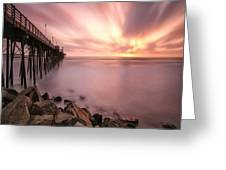 Long Exposure Sunset At The Oceanside Greeting Card